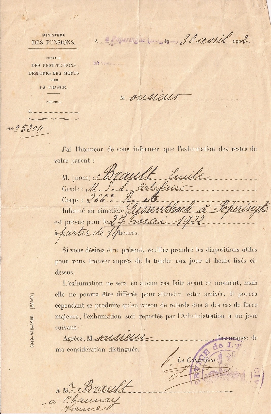 courrier pour exhumation 30 avril 1922